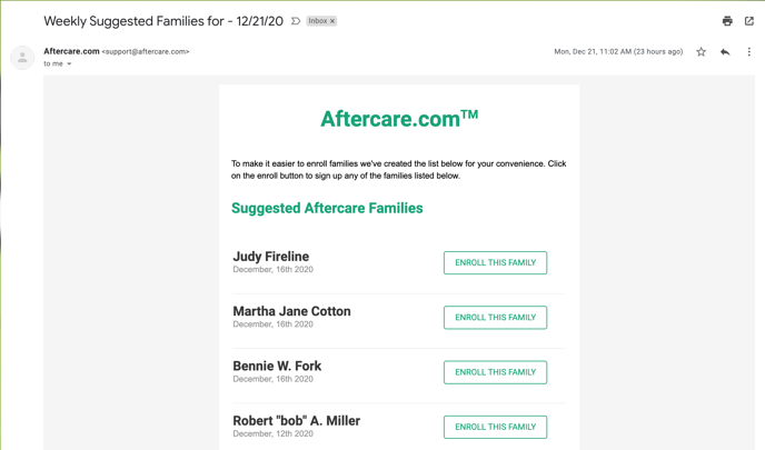 Aftercare-email